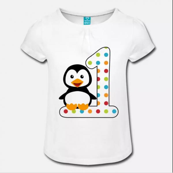 1st birthday penguin t-shirt